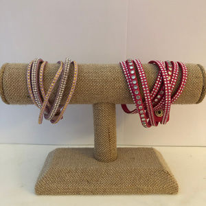 Set of 2 Pink Wrap & Snap Braclets